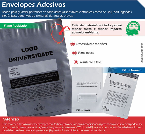 Envelopes Descartáveis Adesivos
