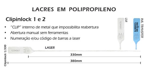 Lacres plásticos com clip metálico Clipinlock 1-330